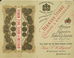 Advert For Herman Stibbe, Foreign Liqueurs, Bitters & Spirits